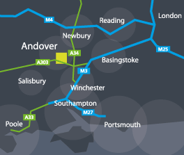 Andover location map